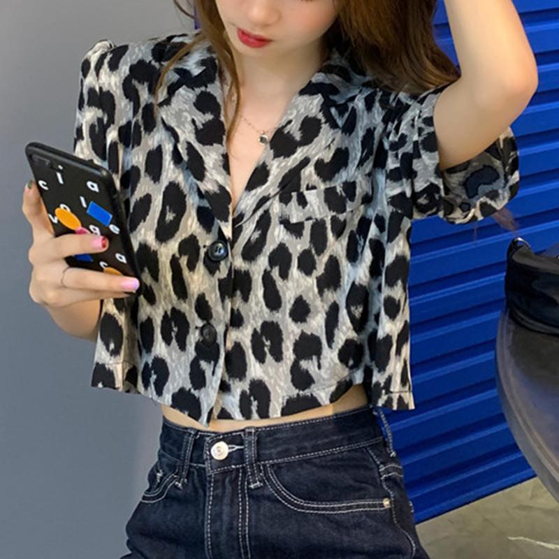Summer New Leopard Crop Tops Women Korean Shoulder Elegant Short Shirts Female 2020 Autumn Fashion Lady Single-breasted Top