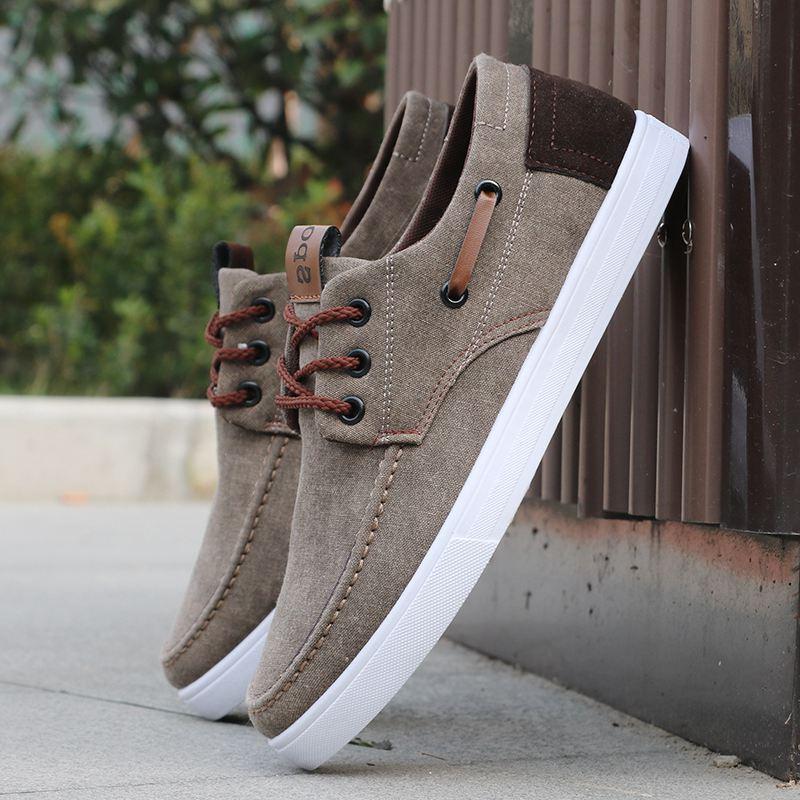 Zapatos de lona respirable del verano de los hombres a estrenar con cordones zapatos para hombre de alta calidad ocasional cómodo antideslizante Pisos hombre zapatillas de deporte