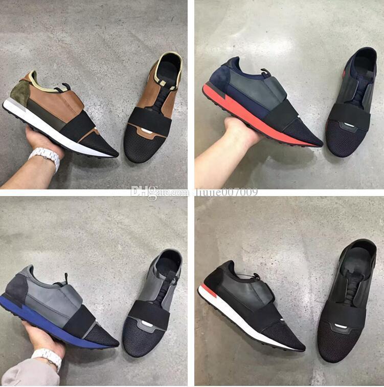 Marca Cores misturadas Casual Sapata da mulher do homem da raça Runner Shoes Plano Fashion Designer Low Cut Patchwork Leather malha baratos tamanho da sapatilha 46
