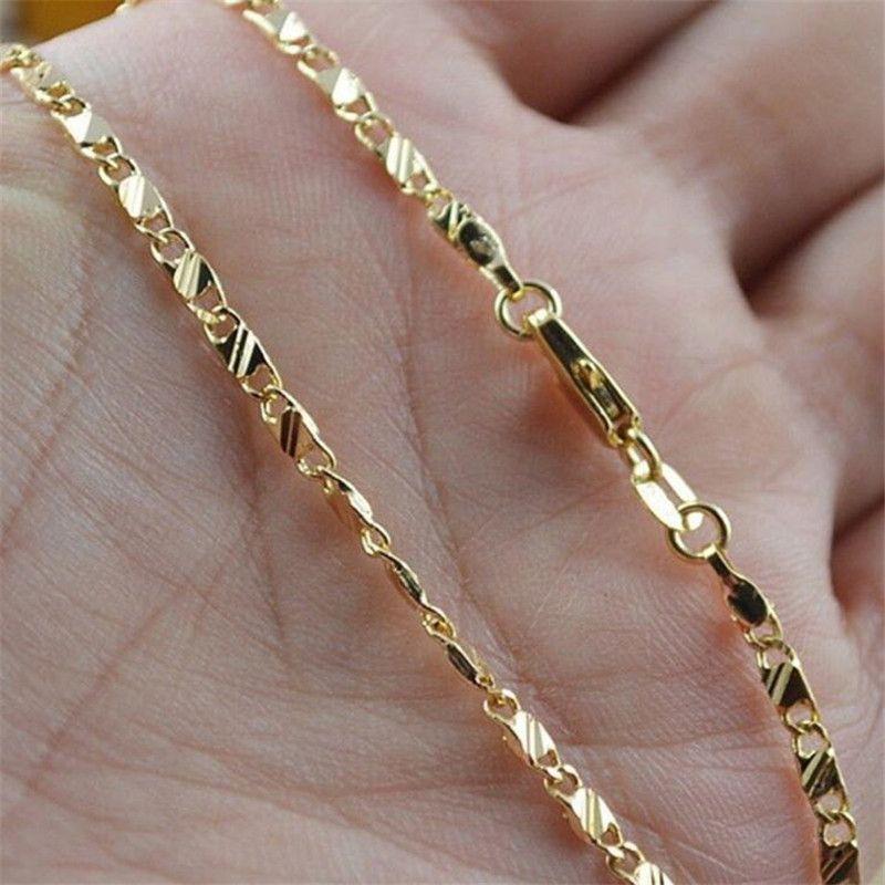 Commercio all'ingrosso di alta qualità di modo donne degli uomini 16-30 pollici collana della catena oro giallo 18K ha riempito gioielli per donne degli uomini