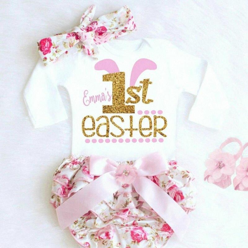 Детская одежда Set 2020 Мода Сладкие малышей ребёнков Kid My First Easter с коротким рукавом Romper цветок штаны YvGX #
