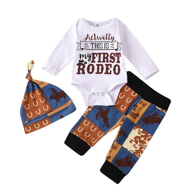 Toddler Kids Baby Boy 3Pcs Clothes Set Newborn Infant Boys Cotton Tops Romper Pants Hat Outfits Clothing 0-18M
