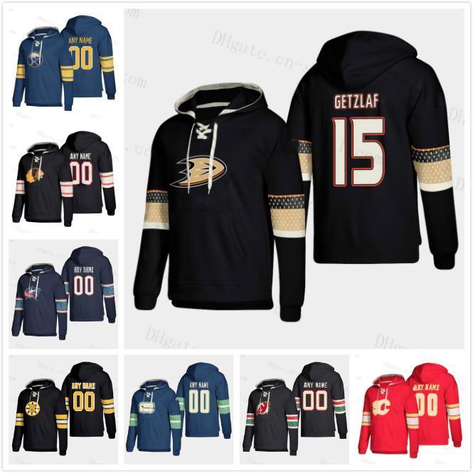 Personnalisé Nom # Calgary Flammes Sabres Blackhawks Vestes Bruins Canucks Devils Devils Devils Canards Ryan Getzlaf Pull-owover Sweat Hockey Jerseys