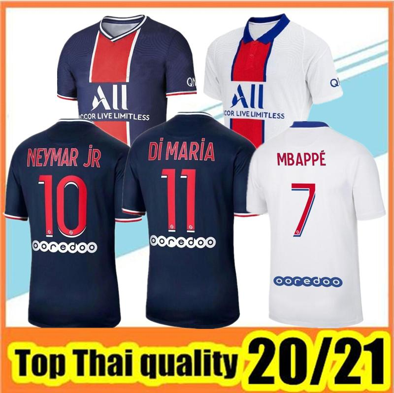 Высокое качество Maillots de Football 2020/21 Paris Soccer Soccer Jersey 2020 2021 MBAPPE ICARDI FUNCLE Home Away Home Away Hommes Unge