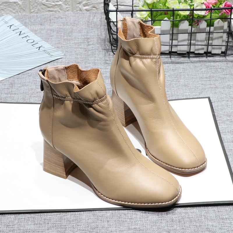 Kalın Topuk Ayak bileği Boots Kadınlar Yeni Kare Ayak Deri Kadın Geri Fermuar Botaş Mujer Moda Elastik Bant Marka Bayan Ayakkabıları