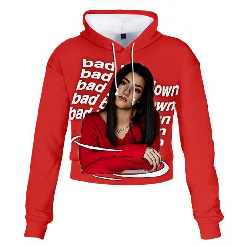 Charli D'Amelio 3D Print Crop Top Hoodie Kawaii Harajuku geerntete Sweatshirt Frauen Langarm-Kapuzen Pollover Tops Poleron Mujer