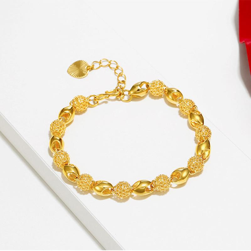 Hollow and exquisite Buddha bead bracelet fashion style plating 24 k gold chain woman