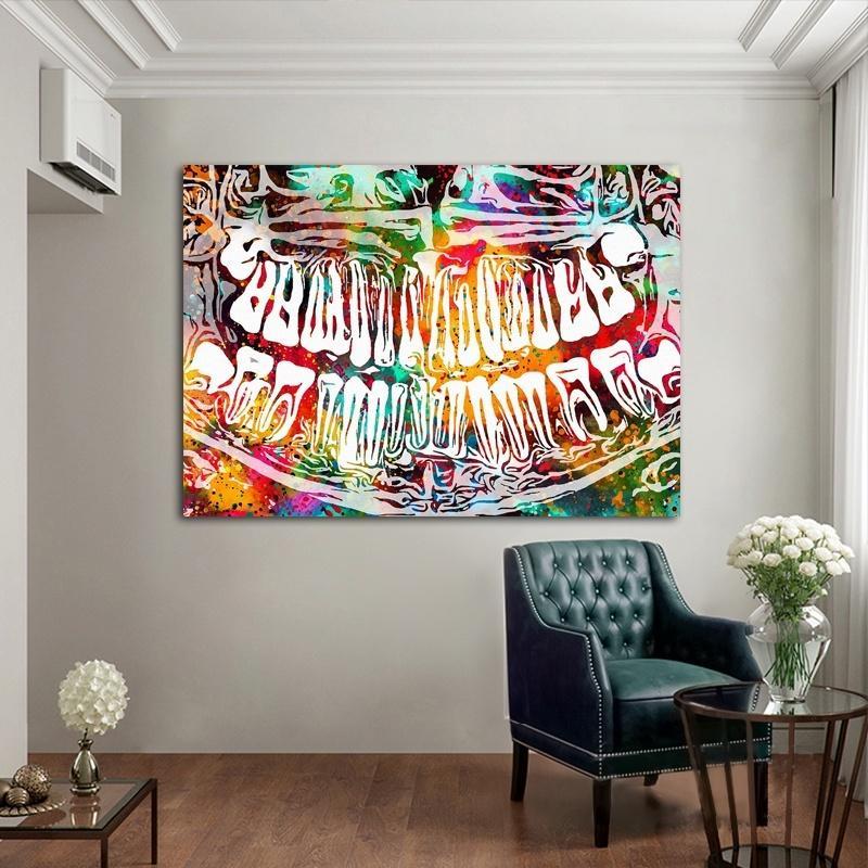 Yaratıcı Renkli Diş Gülmek Diş Grafiti Sanat Tuval Boyama Diş Hekimi Dekor Duvar Resimleri için Tıp Eğitimi Ofis Ev Dekorasyon