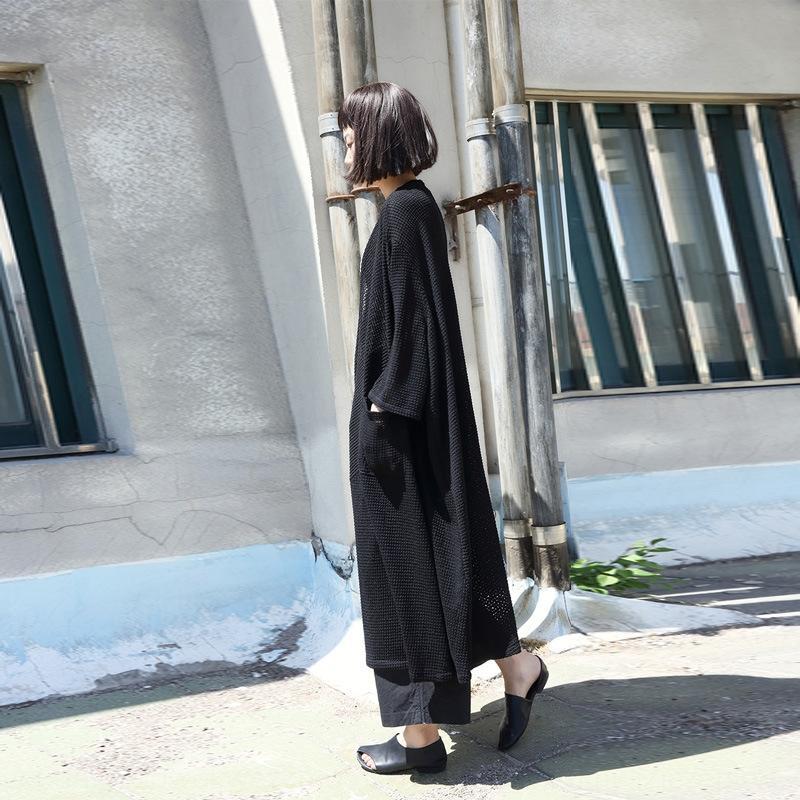 2020 Frühjahr neue Baumwolle gemischt Strickjacke künstlerischer Mantel Pullover Mantel lose Pullover verlängert