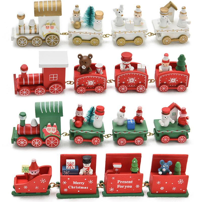 Bonhomme de neige Père Noël Train en bois cadeau de Noël Dîner de Noël Décor Accueil Table New Year Party Supplies Décorations Décoration 62271