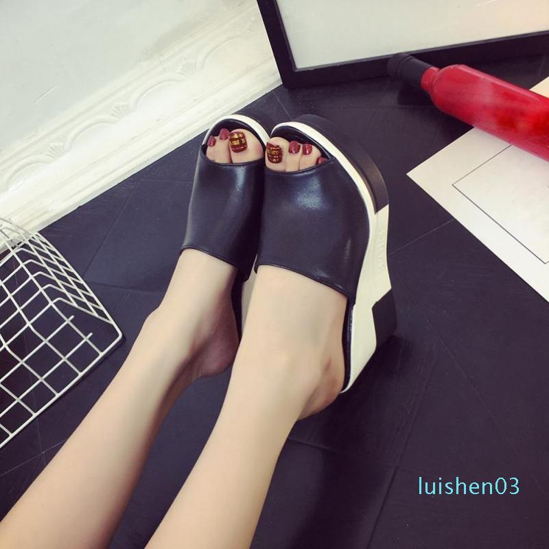 Pescados de la manera de la boca Zapatos de salón con dedos romana sandalias de las señoras tirón del verano de las sandalias de los fracasos de las mujeres Zapatos Mujer L03