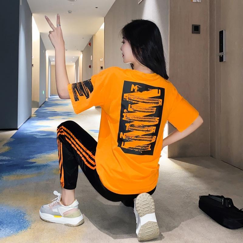 6618 desportos de lazer terno verão 2020 nova moda de emagrecimento estilo coreano e calças de calças de duas peças de moda terno das mulheres