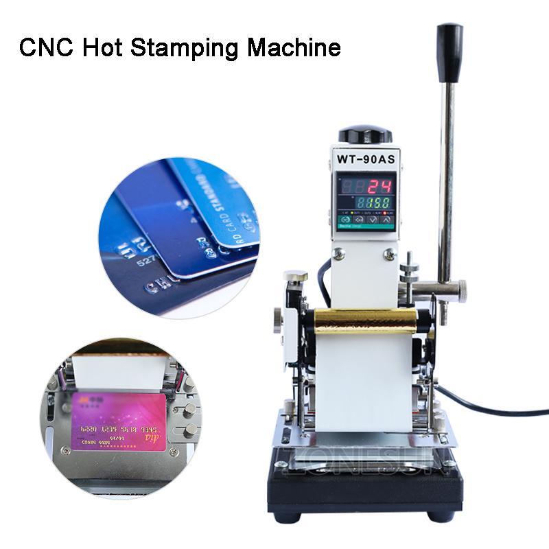 WTJ-90A 220V / 110V manual de PVC Cartões LOGO couro Hot Stamping Máquinas-imprensa do calor Máquina Prensa