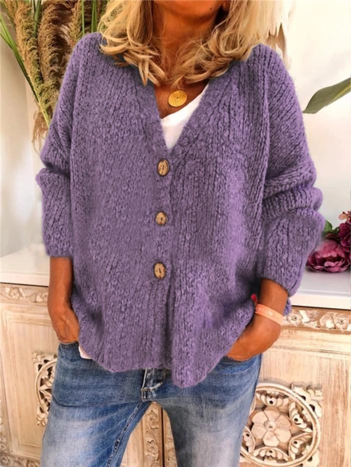 Женщины V шеи кардиган свитер с длинным рукавом однобортный свитер Famale весна осень пальто