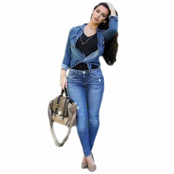 Frauen niedrige Taille festen elastisches Loch Denim-Bleistifthosen weibliche beiläufige dünne gewaschene Jeans gklZ #