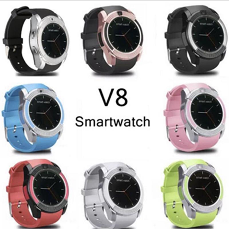Sıcak Satış V8 Akıllı İzle Bluetooth Saatler Android 0.3 M Kamera Ile MTK6261D PK DZ09 GT08 Smartwatch Perakende Paketi ile 8 Renkler