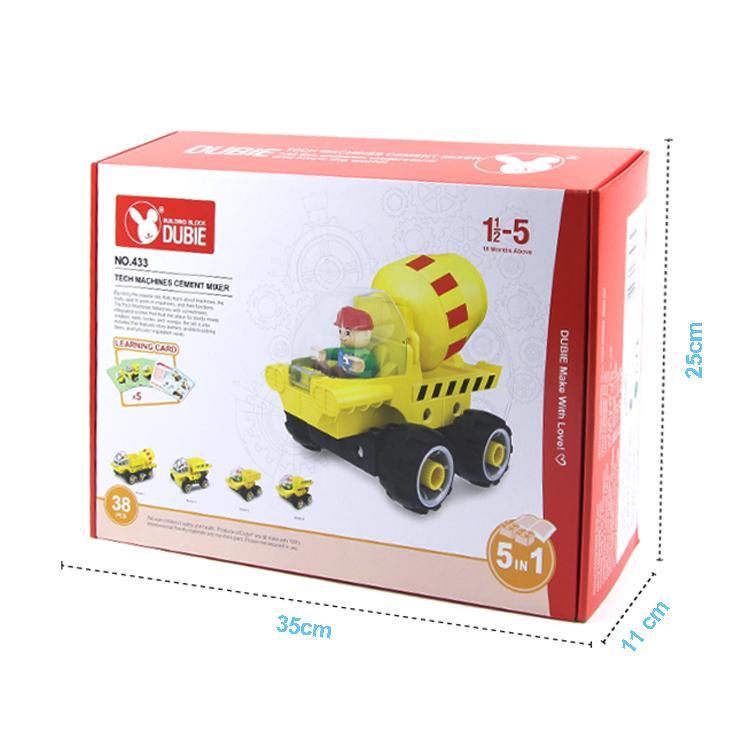 Teknik makineleri çimento mikseri 5 çocuk hediye 01 1 yapıtaşı asssembly eğitici oyuncak içinde