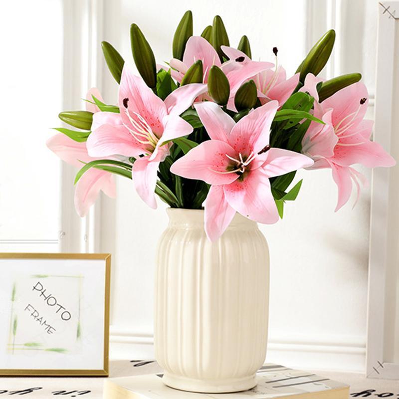 Dekoratif Çiçekler Çelenkler 1 ADET Ipek Zambak Yapay Çiçek Bahçe 2 Kafaları Sahte Avrupa Retro DIY Düğün Tatil Festivali Parti Ev için