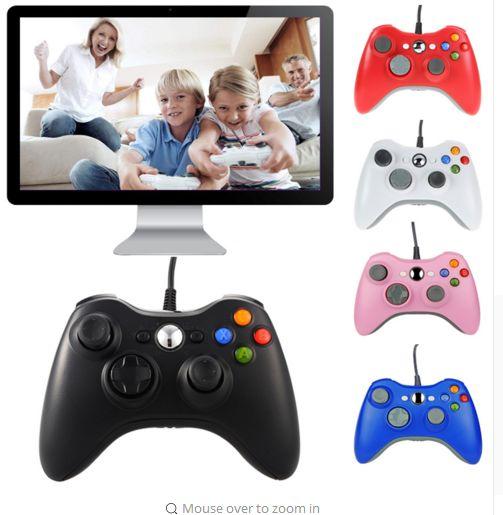 2018 Hot Sale Jogo Cabo USB Gamepad preto punho Xbox 360 Gamepad