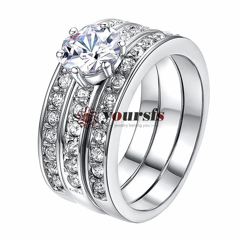 Yoursfs Gioielli Tre-In-One halo anelli 18 K Oro Rosa Placcato Pavimenta Mirco Austriaco Di Cristallo Trinity Strass Wedding Band Anello di fidanzamento