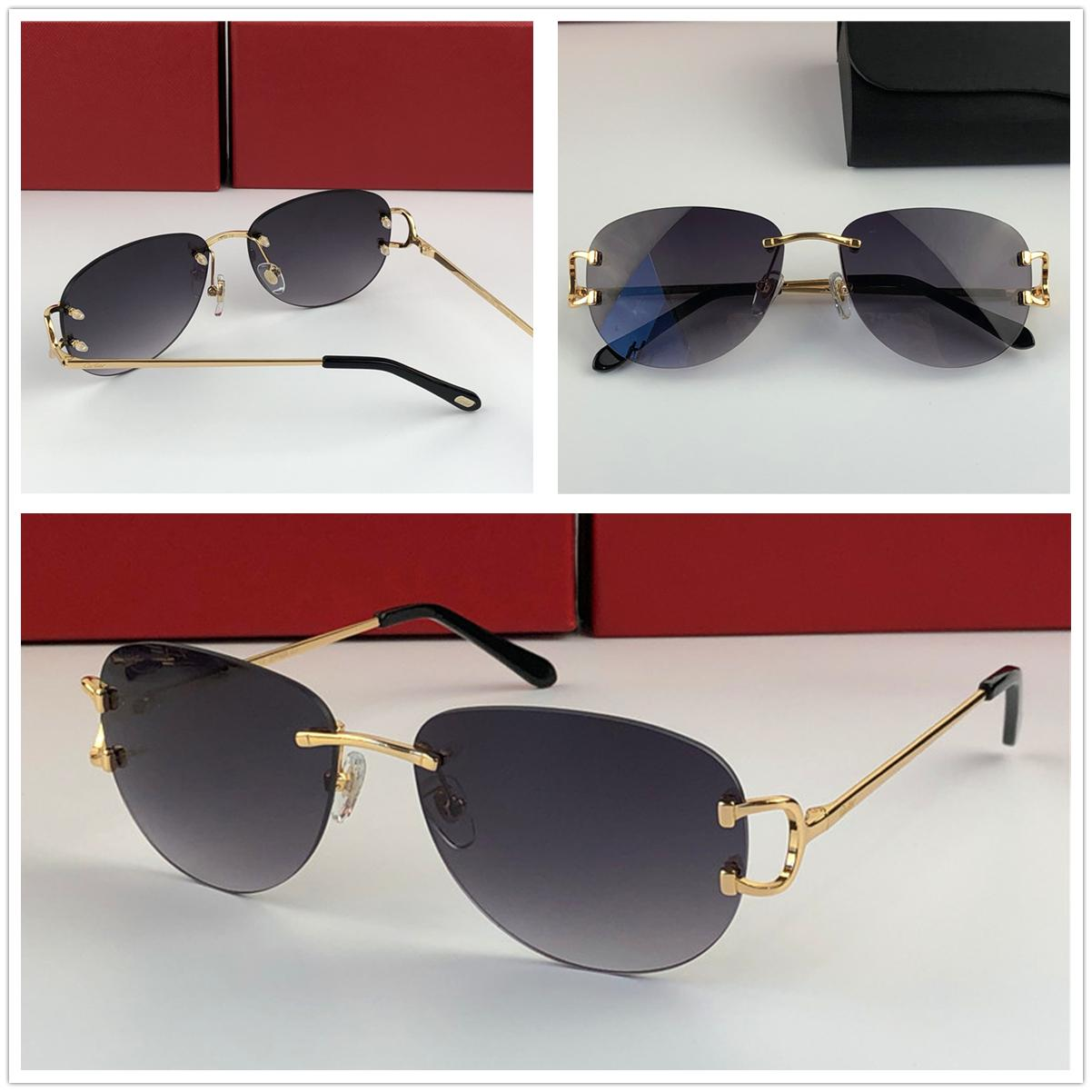 الرجال فاخر مصمم إطار نظارات شمسية في الهواء الطلق موضة النظارات الشمسية النظارات Men3456631Frameless طيار الصغيرة ريترو الحديثة الطلائع التصميم