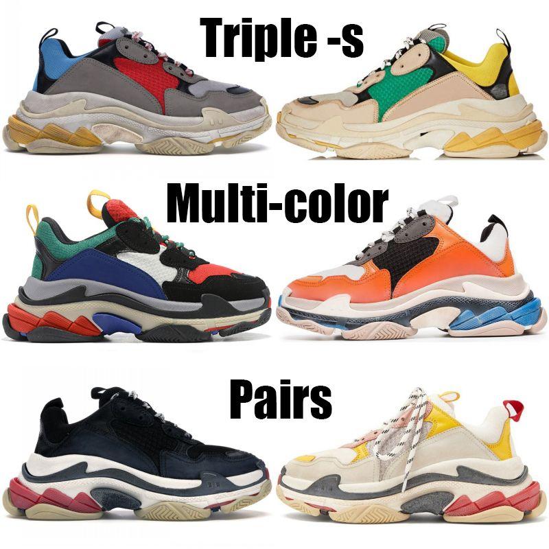 Coppie Triple-s Moda scarpe da uomo donna grigio rosso blu bianco nero multicolore scarpe da ginnastica piattaforma verde giallo scarpe casual nozze partito beige