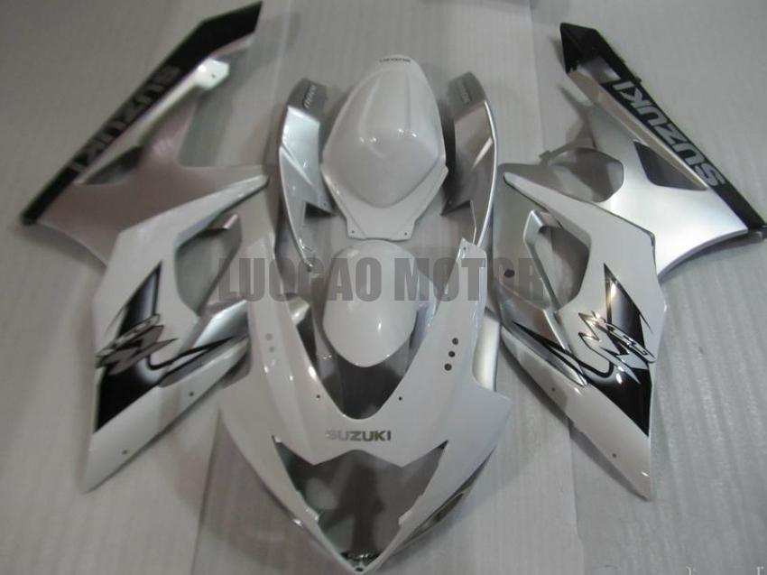 Injection Fairings kit for SUZUKI GSXR1000 GSXR-1000 2005 2006 GSXR 1000 05 06 #Body cover gsxr1000 05-06 tank cover #white silver #A9N19