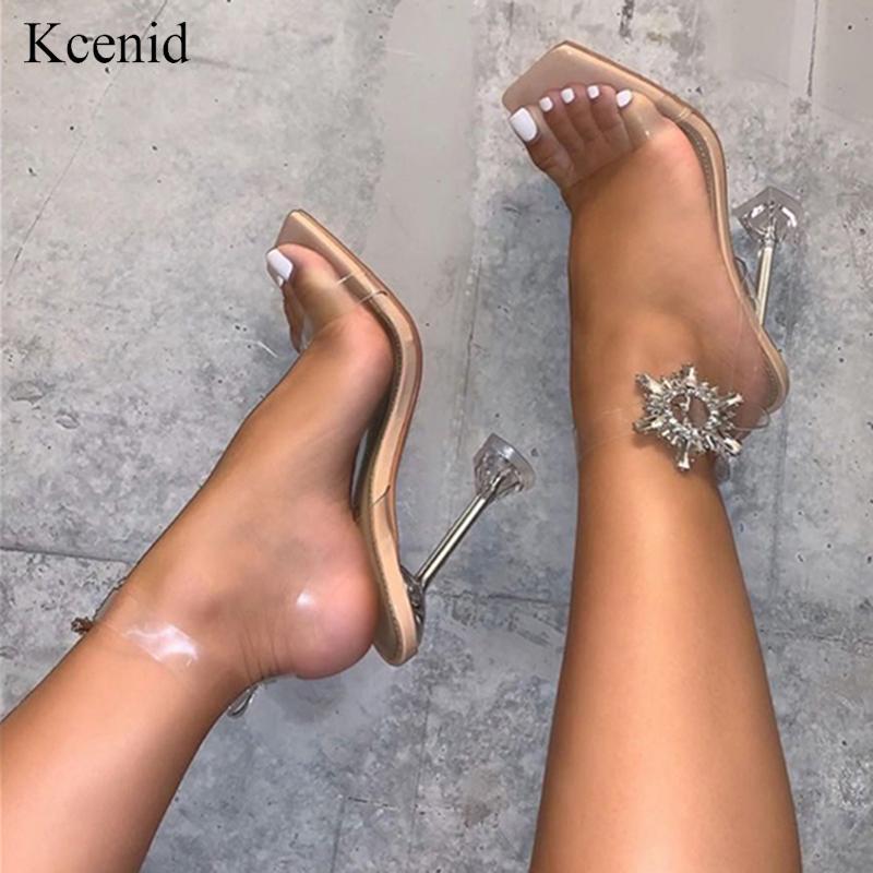 Kcenid جديد الصيف النساء الصنادل الكعب العالي موضة شفافة مربع أحذية السيدات اصبع القدم اللباس حزب الصنادل الكريستال حجر الراين
