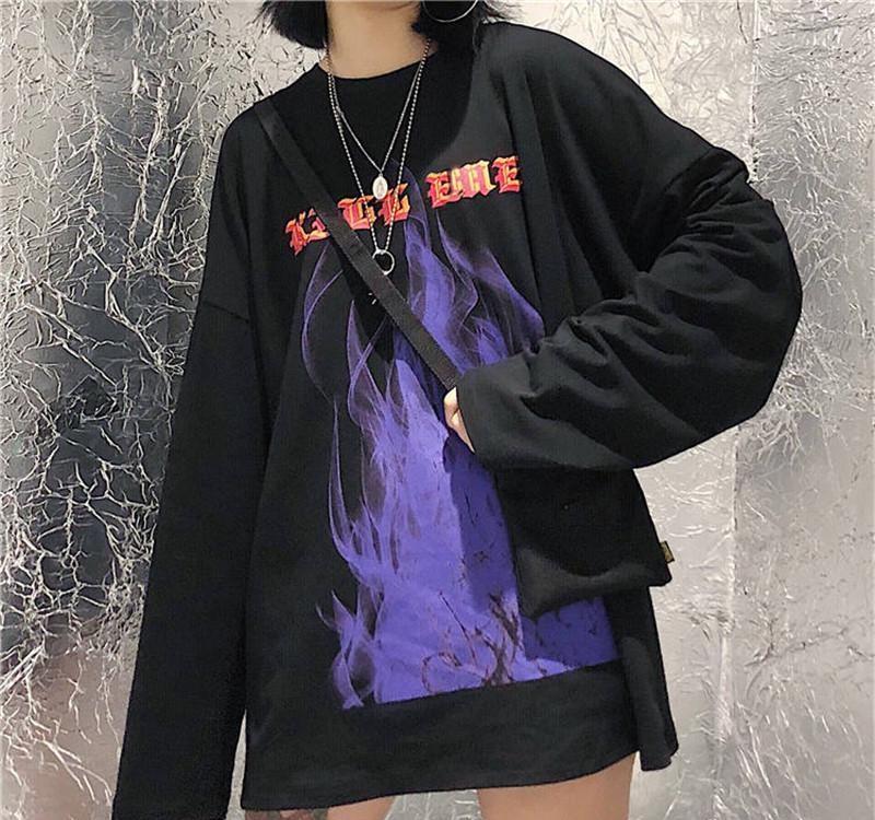 2019 Flame Letter Print Japan Harajuku T-shirts Men Women Funny O-neck Long Sleeve Loose Hip Hop Tshirt Streetwear Women Tops MX200611