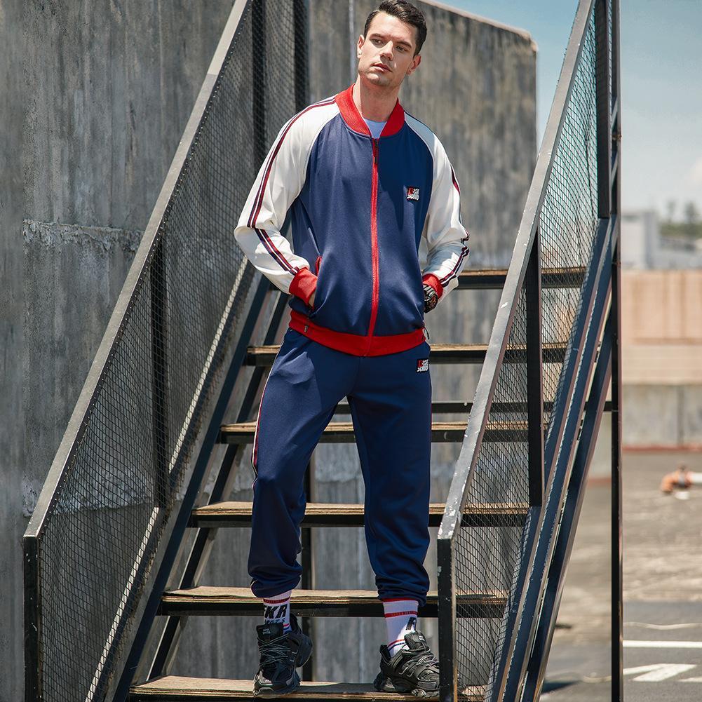 Hombres jacket + pant 2020 Otoño Invierno chándal de dos piezas de los juegos de pantalones de jóvenes de la capa ocasional de la manera de la cremallera