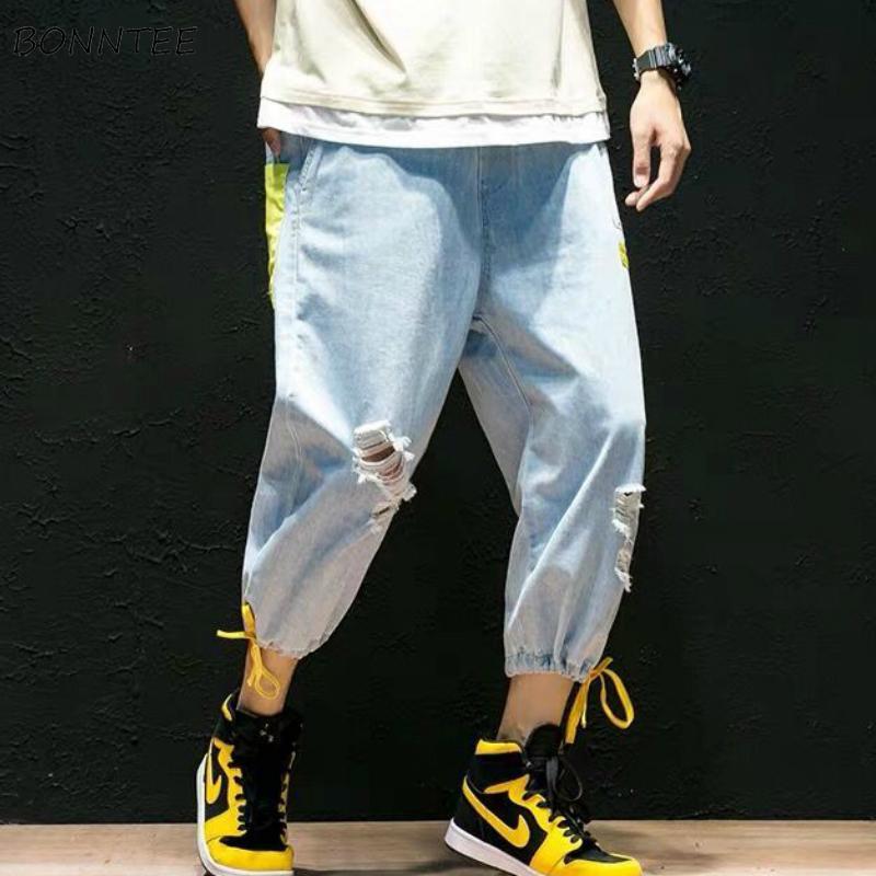 Kot Erkekler Ayak bileği uzunlukta Elastik Bel Patchwork Delikler Ayarlanabilir Geniş Bacak Pantolon Paketi Erkek Chic Boş Harajuku Yeni
