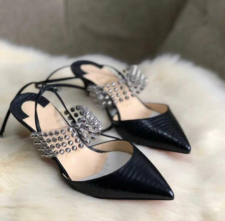 В роскошных дизайнерских женщин с красной подошвой Высокие каблуки Левита лодыжки ремень Slingback Sexy Сандалии Точечные Toe Pumps ПВХ Lady Party Wedding