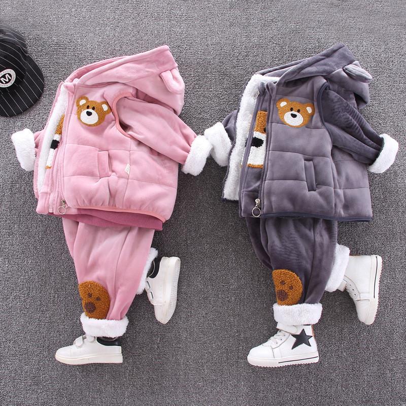 Toddler Tracksuit Inverno caldo Abbigliamento per bambini Set di abbigliamento per bambini Ragazzi Ragazze Vestiti Velvet Cappotto di velluto Vestito Cappotto con cappuccio Pantaloni con cappuccio 3pcs Bambini Abiti