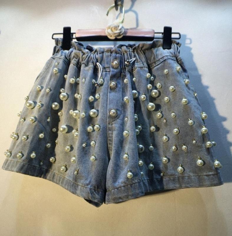 Jean Shorts für Frauen-Sommer-Wear europäischen Art-handgemachtes Nähen Perlen Perlen-elastische hohe Taille Weites Bein Jeans-Shorts Hot Pants 0I9g #