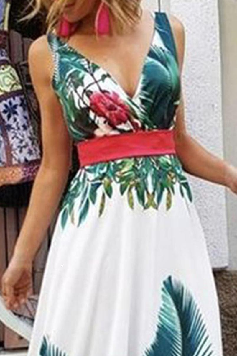 Lady Yaz Tatili Çiçek Plaj Boho Maxi V Yaka Elbise Akşam Parti Çiçek SunDress yazdır