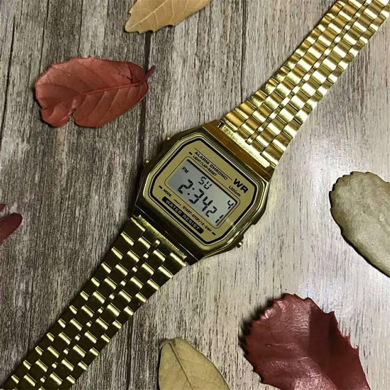 Квадратный циферблат из нержавеющих Золотых часов Стали для мужчин Женского G Style LED Digital Shock Back Light Chronograph Студенты подарок Часы Часы Саат