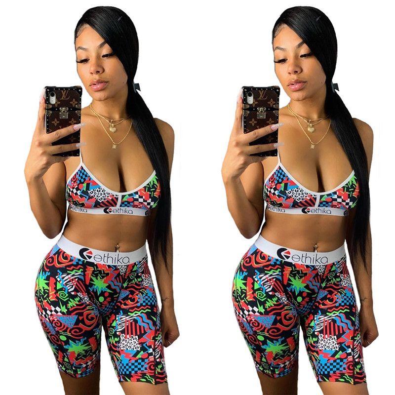 Costumi da bagno donna estate Moda Tie up Bra Vest + Shorts insieme a due pezzi lettera stampa casuale pantaloni costume da bagno Swim Trunk Tuta Bikini 2020