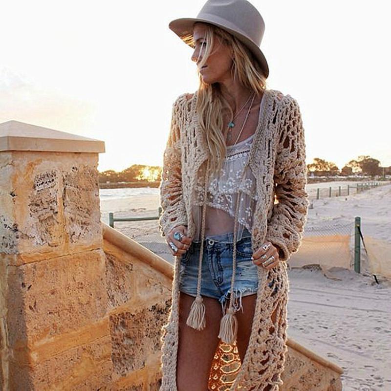 Tejido a mano bohemio largo Cardigan de lana gruesa Hook Flores larga floja hueco suéter de la capa con las borlas de la playa irregular de punto