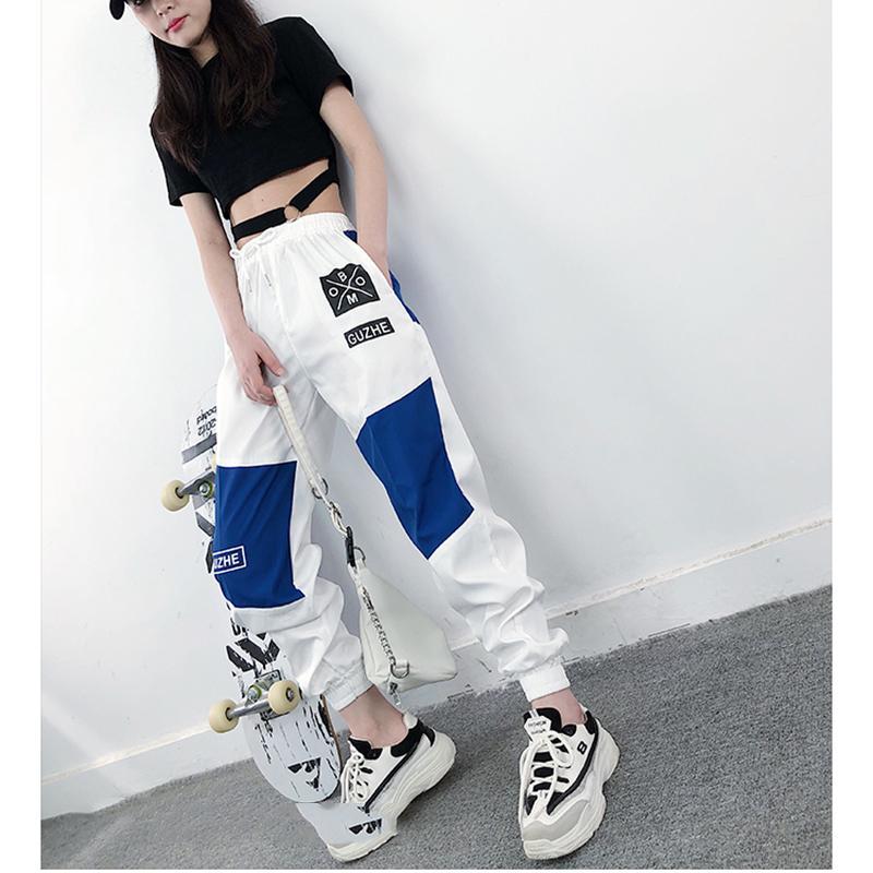 Yüksek Bel Harf Eklenmiş Kargo Pantolon Kadınlar Gevşek Harajuku BF Ayak bileği-Uzunluk tulumları Pantolon Artı boyutu Hip Hop Kadın Spor Pant
