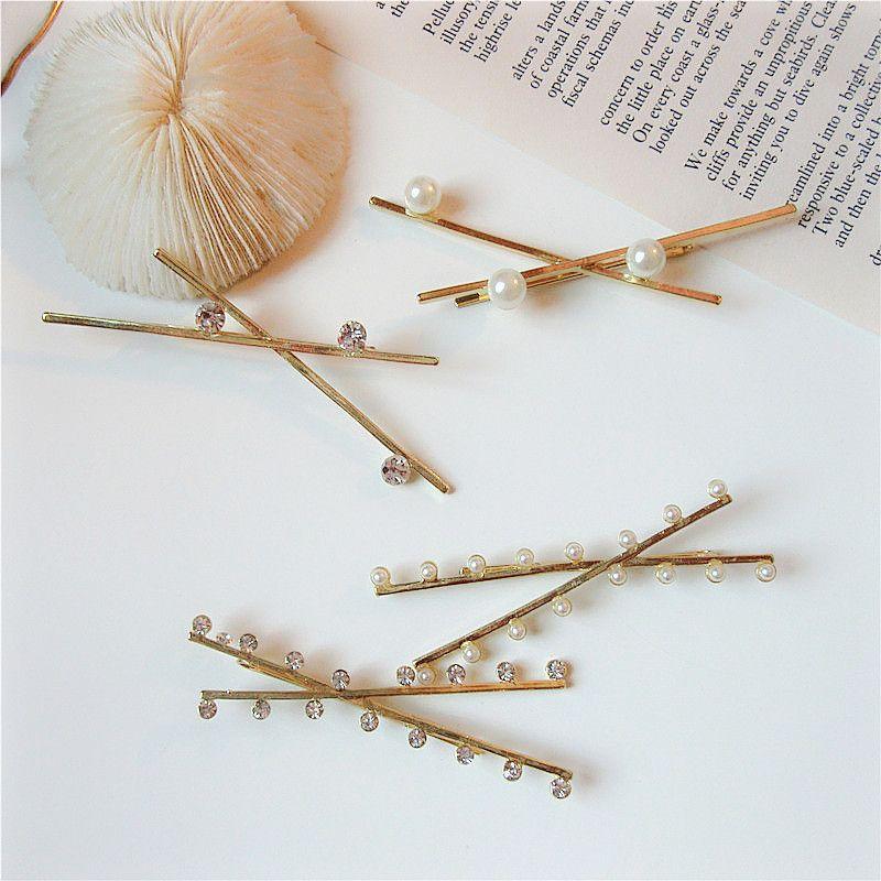 Korean ins style Internet celebrity simple design Pearl rhinestone cross metal alloy side clip hairpin female
