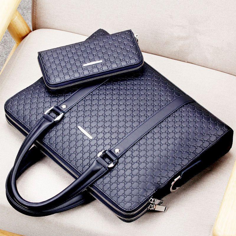 Casual Man Shoulder Bag New Double Layers Men Leather Business Briefcase Messenger Bag Male Laptops Handbags Men's Travel Bags T200727