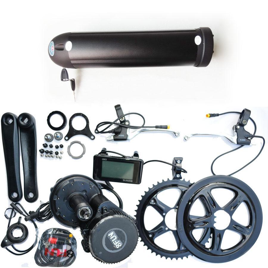 48 motor kit de bicicleta eléctrica: paquete de la batería e estilo de la botella 48V 15Ah Samsung Li-Ion y 8FUN 500w bbs02 kit de la unidad de mediados