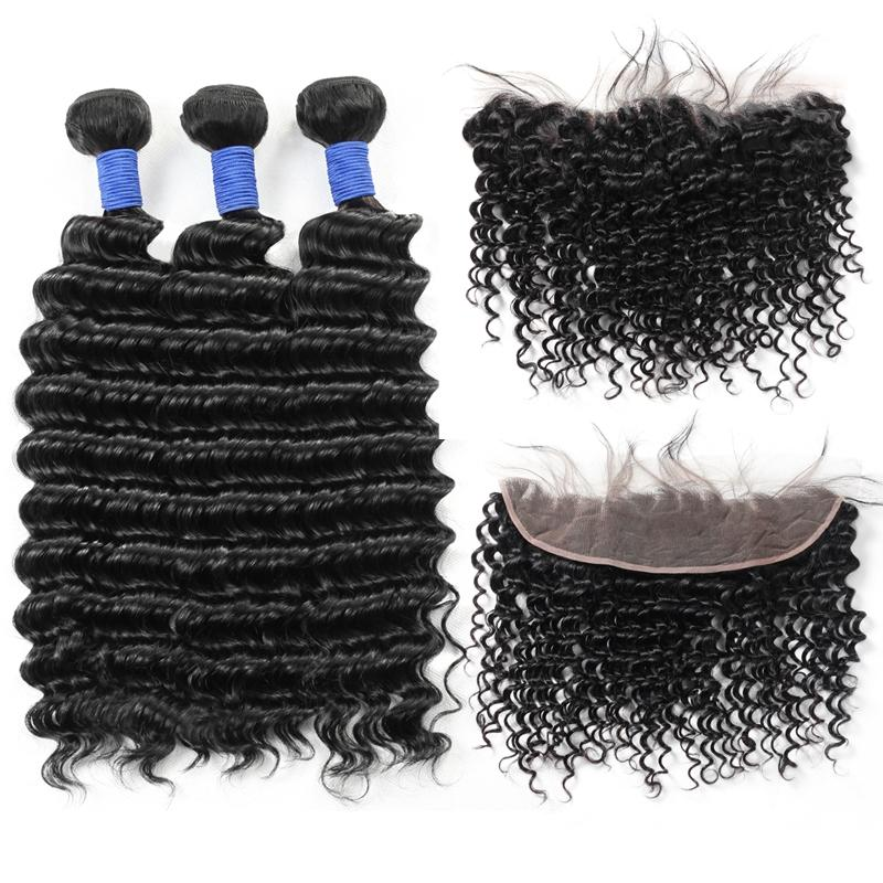 8 бразильский 3Bundles волоса с 13 * 2,5 Кружева Фронтального Человеком Связка волос с закрытием Оптовых Дешевого Deep Wave Virgin Extensions волос