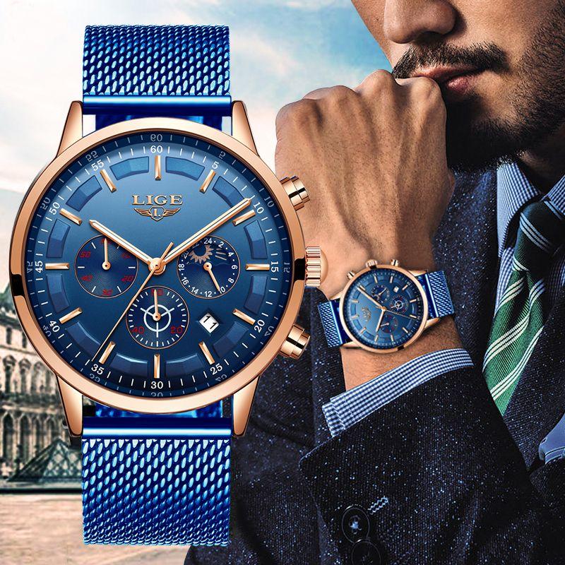 Lige Yeni Erkek Saatler Erkek Moda Top Marka Lüks Paslanmaz Çelik Mavi Kuvars İzle Erkekler Casual Spor Suya Video Relojes CJ191116