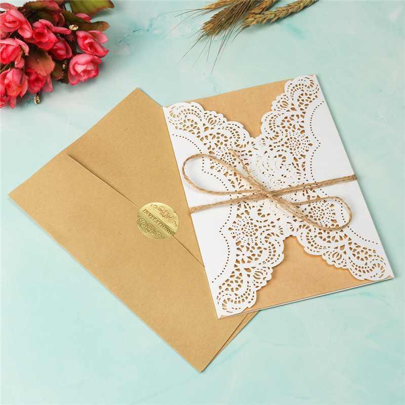 20/40pcs Design Wedding Invitations Flower Pattern Laser Cut Lace West Cowboy Customize Invitation Cards Send Seal Envelope