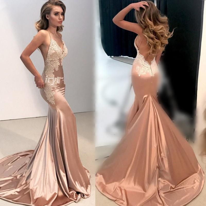 Sexy Meerjungfrau Abendkleid vestidos de fiesta SpitzeAppliques geöffnet ist zurück mit V-Ausschnitt Spaghetti-Trägern Satin Abendkleid 2020