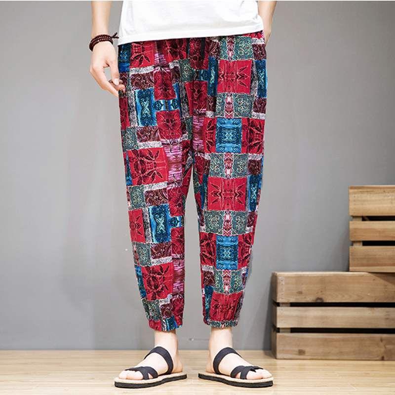 2020 Loisirs Mode Coton Sarouel homme Pantalons simple Imprimé Joggers Chic Bas Vintage Pantalones Hombre Streetwear S-5XL