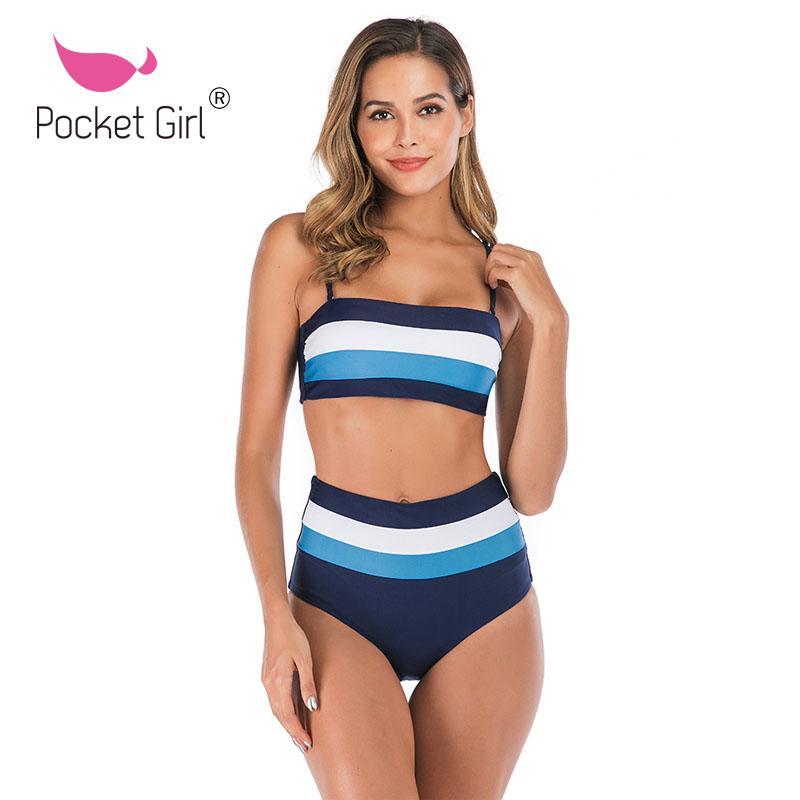 Pocket Girl 2020 High Waist Bikinis Striped Swimwear Bikini Set Swimming Womens Bandage Bathing Suit Swimsuit Women Swimwear