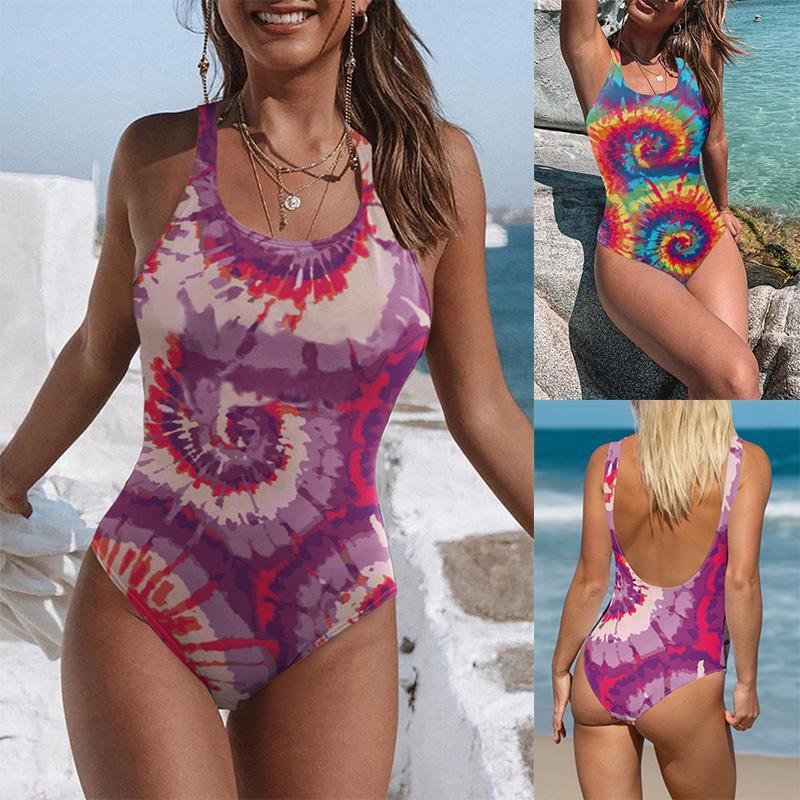 Paisley costumes monoblocs femmes Tie-Dyed Maillots de bain 50% Sport Equipement de natation Femme taille haute Beachwear Sexy Dashiki monokini