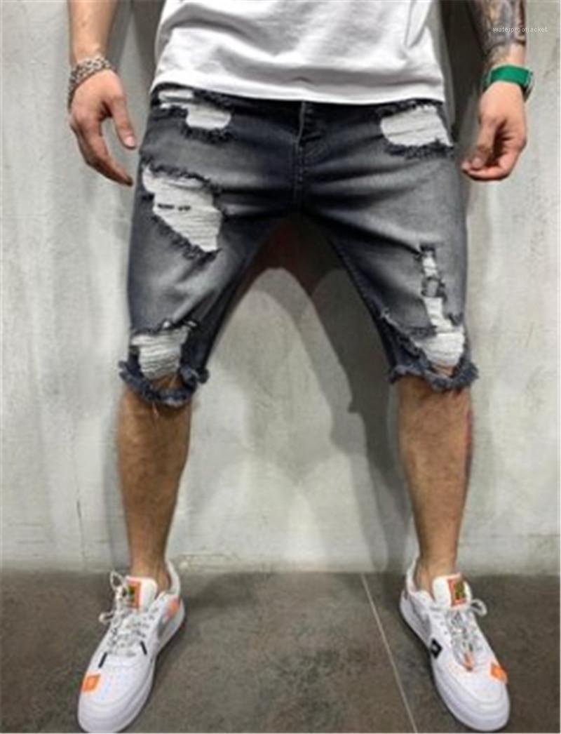 Rectas mediados de cintura de la cremallera de la mosca diseñador de los pantalones de los hombres pantalones vaqueros rasgados grises longitud de la rodilla Solid color de los pantalones de mezclilla Homme